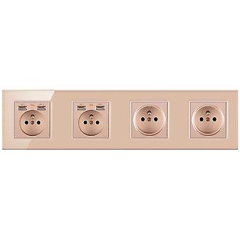 Glass Panel Four-slot Power Socket With Pins And 4 Usb Charging Port