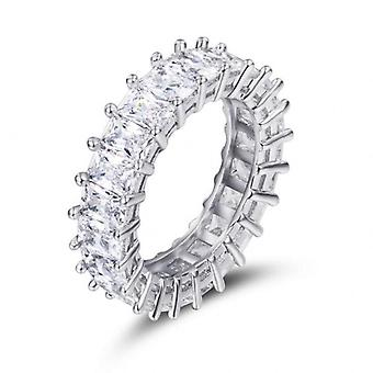 Sterling Silver Cz Stone Statement  Band Ring