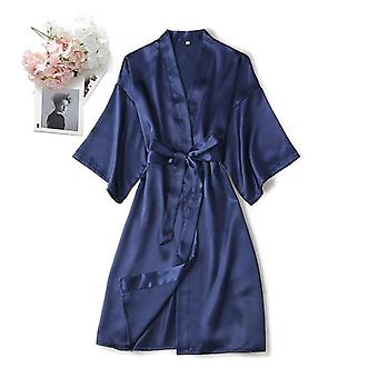 Femme Robe de chambre Peignoir Kimono Silk Bathrobe Sleep Lounge