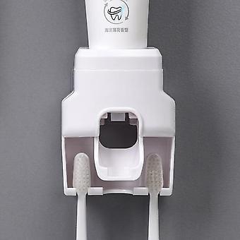 Toothbrush Holder Set Toothpaste Dispenser Wall Mount Stand Bathroom