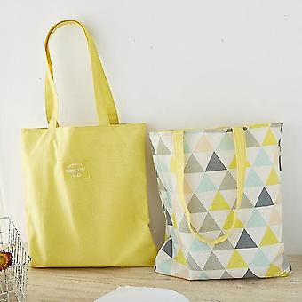 New Fabric Double-sided Dual-use Handbag Cotton And Linen Shopping Bag