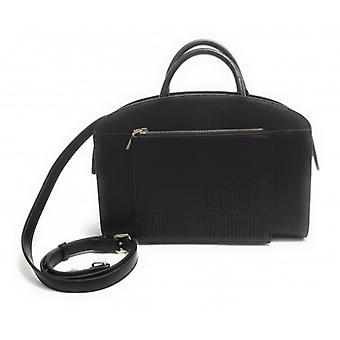 Женская сумка Love Moschino A Mano / Плечевой ремень в черной эко-коже с карманом B21mo41