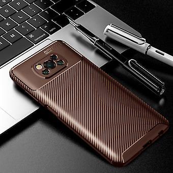 Auto Focus Xiaomi Poco M3 Case - Carbon Fiber Texture Shockproof Case Rubber Cover Brown