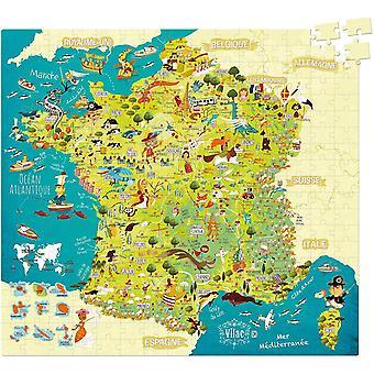 HanFei 2726 Frankreich Karte (Kartonpuzzle) (franzsische Version), merhfarbig