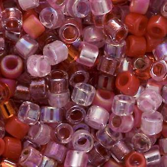 ميوكي ديليكا بذور الخرز، 10/0 الحجم، 8 غرام، ميكس حقول الفراولة الوردي الأحمر