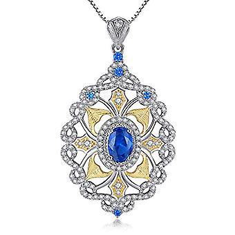 GemShadow Women 925 Sterling Silver CZ Drop Necklace and 925, Color: Sapphire Blue, cod. AQEN000026