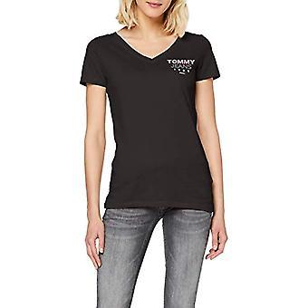 Tommy Jeans Tjw Essential V-Neck Logo Tee T-Shirt, Noir (Black Bbu), 36 (Taille Fabricant: XX-Small) Femme