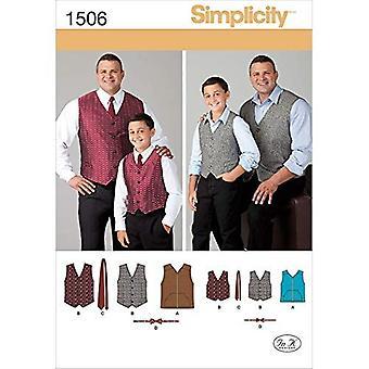 البساطة الخياطة أنماط 1506 الرجال بنين اصطف سترات العلاقات حجم S-L / 1XL-5XL