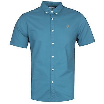 Farah Brewer Slim Fit Short Sleeve Oxford Shirt - Blue