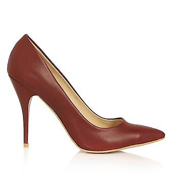 Claret Red Leather Heeled Shoes Stiletto Ma-21