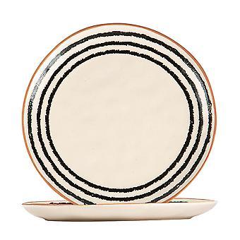 2x placas de borde de borde de rayas cerámicas estampadas vajilla 20.5cm monocroma