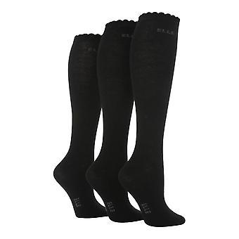 Elle - 3 pk Mädchen schlichte Farbe Knie hohe Socken