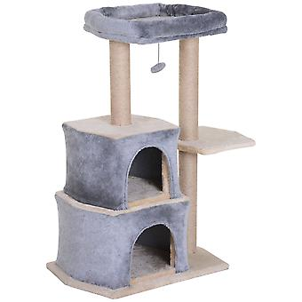 PawHut Multi-Level Cat Tree Scratching Posts Platform with Sisal-Covered Perch Condo Kitten Activity Centre Grey