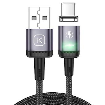Kuulaa USB-C Magnetic Charging Cable 2 Meters with LED Light - 3A Fast Charging Braided Nylon Charger Data Cable Android Purple