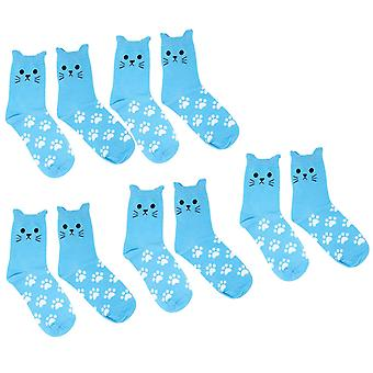 Flo Novelty Women's Cat Socks with Printed Paws Pack of 5, Bleu