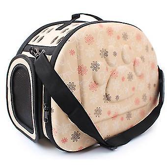 Saco de ombro respirável portátil ao ar livre, mochila de gato de viagem dobrável (champanhe)