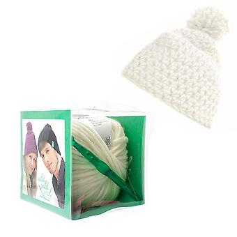 Crochet Hat with Wool Pom Pom Adults Knitting Craft Kit - Off White