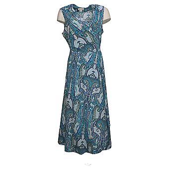 Belle af Kim Grus Kjole Paisley Print Midi Wrap Kjole Blå A351610