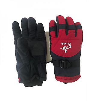 New Winter Outdoor Sports 9-15 Years Old Children's Skiing Gloves, Embroidered Warmth Waterproof And Windproof Gloves