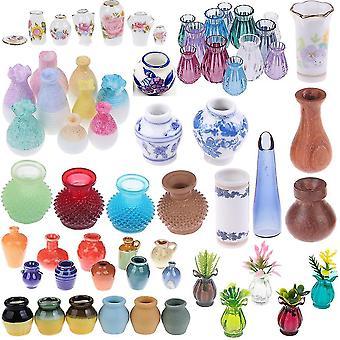 1/2/5/6Ks / lot roztomilý vintage porcelán květináč váza jar 1:12 měřítko ručně vyráběné panenky dům miniaturní