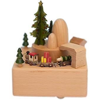 Joulu puinen laatikko lahja joulujuna musical box
