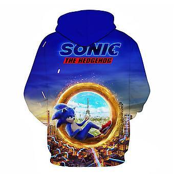 Sonic The Hedgeho 3d digital color printing algodón suéter con capucha