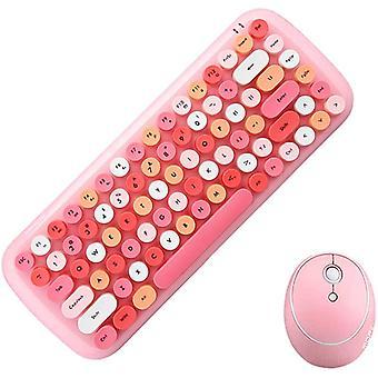 Mini Wireless Keyboard 2.4g Usb Keyboard And Mouse Set, Round Keycap, Multicolor Cute Girl Keyboard...
