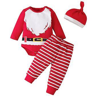 Infant Toddler Baby Xmas Santa Outfit Christmas Romper Pants Hat Set