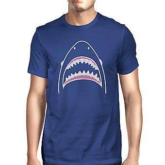 Shark Mens Royal Blue Cotton Kortärmad Tee Cool sommar T-Shirt