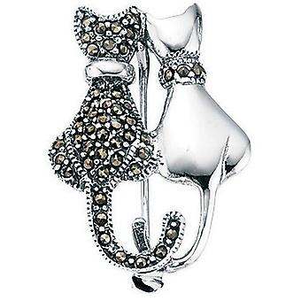 925 Silver Marcasite Brooch Cats
