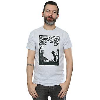 ديزني الغابة الكتاب صورة ظلية ملصق تي شيرت للرجال