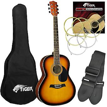 Tiger Acoustic Guitar for Beginners - Sunburst