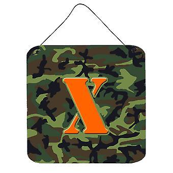 X-KIRJAIN alkuperäistä monogrammi - Camo vihreä seinä tai ovi roikkuu tulosteita