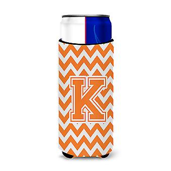 Letter K Chevron Orange and White Ultra Beverage Insulators for slim cans