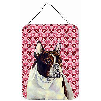 Französische Bulldogge Herzen Liebe und Valentinstag Wand oder Tür hängen Drucke