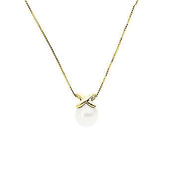 Collier Ras du cou Femme Perle de Culture Blanche AA et Or jaune 375/1000 3517