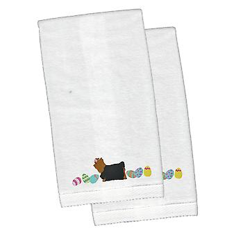 Yorkie Yorkshire Terrier Easter White Embroidered Plush Hand Towel Set of 2