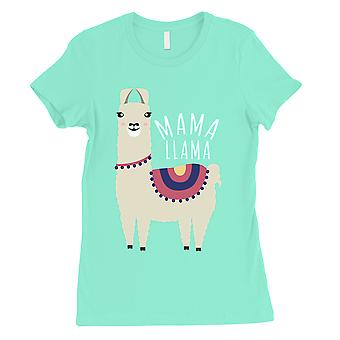 Mama Llama Womens Mint Cute Mothers Day Gift Tee Shirt For Moms