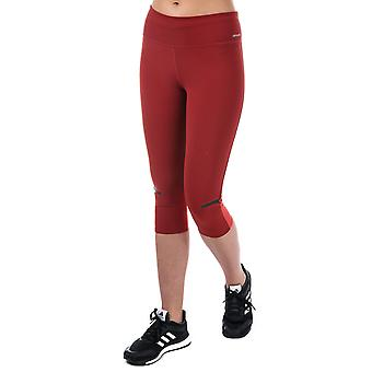 Womens adidas Chill 3 Quarter Tights In Mystery Red