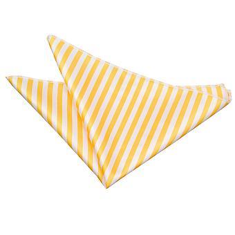 Bianco & giallo sottile striscia Pocket Square