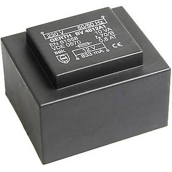 Gerth PT481502 PCB mount transformer 1 x 230 V 2 x 7.50 V AC 10 VA 666 mA