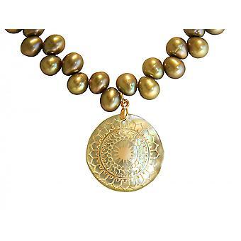 Gemshine kaula koru riipus medaljonki helmet äiti helmi kullattu pronssi