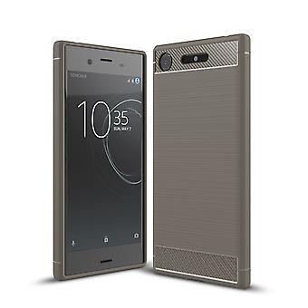 Sony Xperia XZ1 TPU case carbone fibre optique brossé gris housse de protection