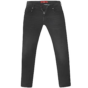 D555 Mens Benson Big Tall King Size Tapered Fit Stretch Jeans Trousers - Black