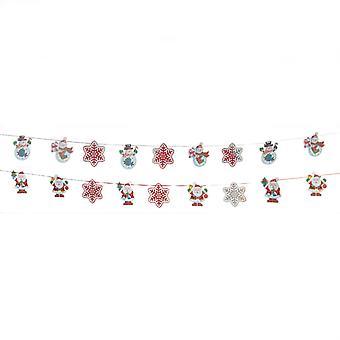 TRIXES 2M holographische Weihnachten Schneemann und Schneeflocke 3D Garland 9PC mit Band