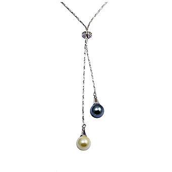 Svart og hvit Double Pearl kjede, utsmykket med Swarovski krystall og Rhodium plate
