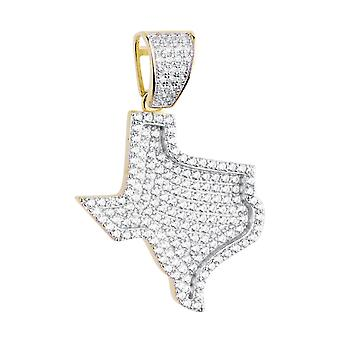 Premium Bling - 925 sterling silver Texas pendant gold