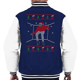 Hotline Bling Santa Drake Dancing Christmas Knit Pattern Men's Varsity Jacket
