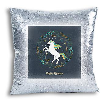 i-Tronixs - Unicorn Printed Design Silver Sequin Cushion / Pillow Cover for Home Decor - 12