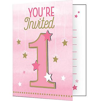 Creative Converting One Little Star Girl Pink/Gold Invitation Cards (Pack of 8)